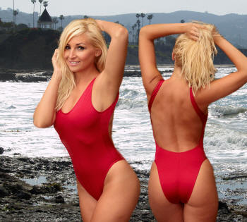The Plus size Baywatch style 2Scoops one piece swimsit by Brigitewear, be your own Malibu Lifeguard