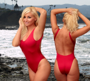 Baywatch style Red one piece swimsuit for women by Brigitewear, be a Malibu Lifeguard