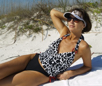 A great, flattering, 2 piece swimsuit with thong or rio tie side bottom