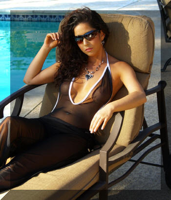 Shown with the Sheer Mesh Pant, Silver Heart necklace and earrings and Maxx 2 Sunglasses, a great resort look