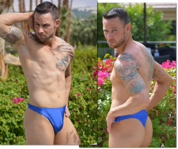 Mens Azur thong swimsuit in Royal Blue