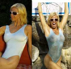 Sheer when wet and see through bathing suits by Brigitewear
