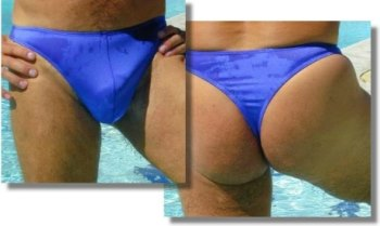 The Azur thong bathing suit for men with its deep pouch front is quite comfortable all day