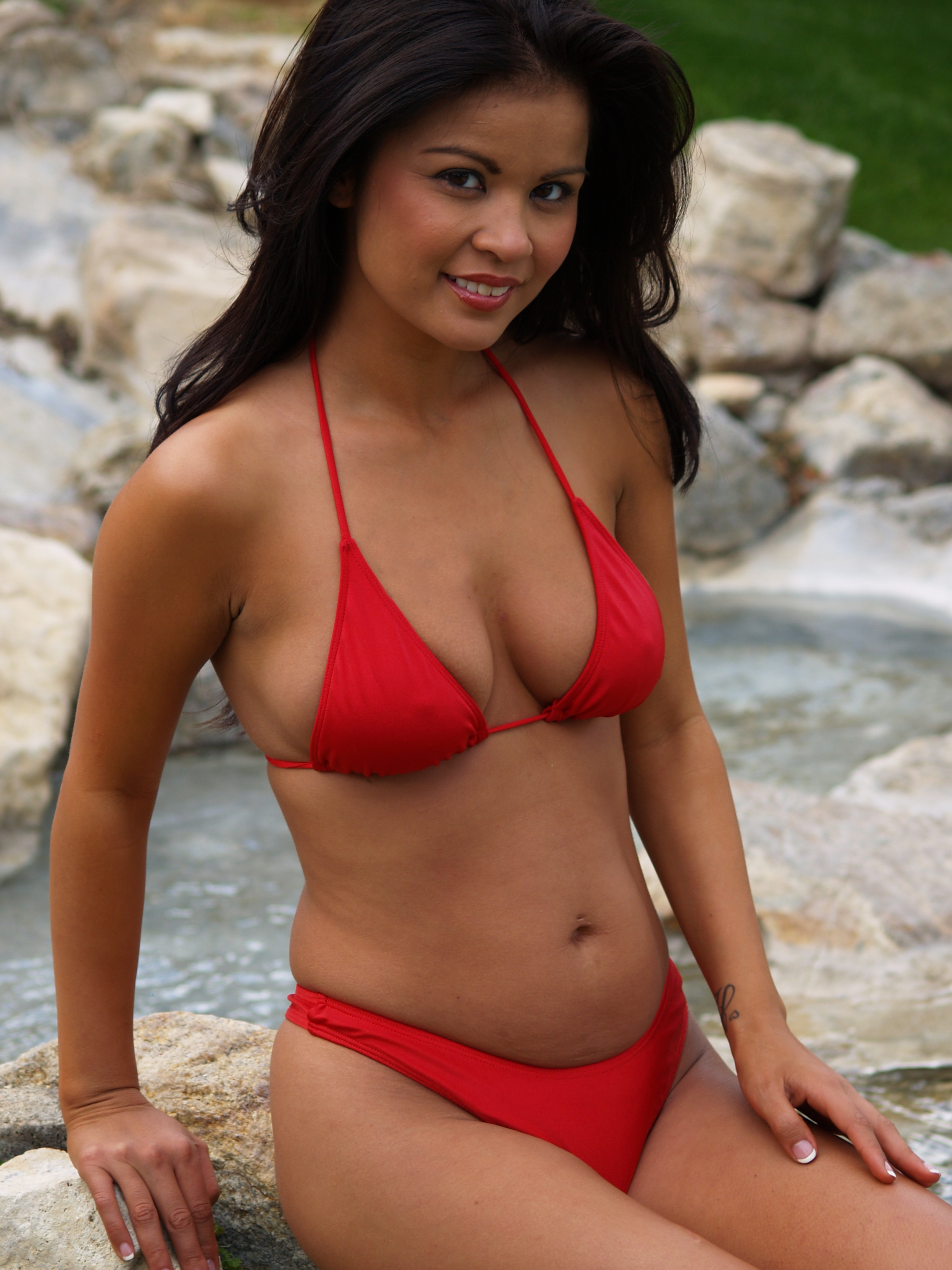 Red thong bikini swimsuit