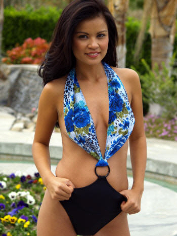 The Blue Leopard top shown with the Brigite Convertible topless swimsuit