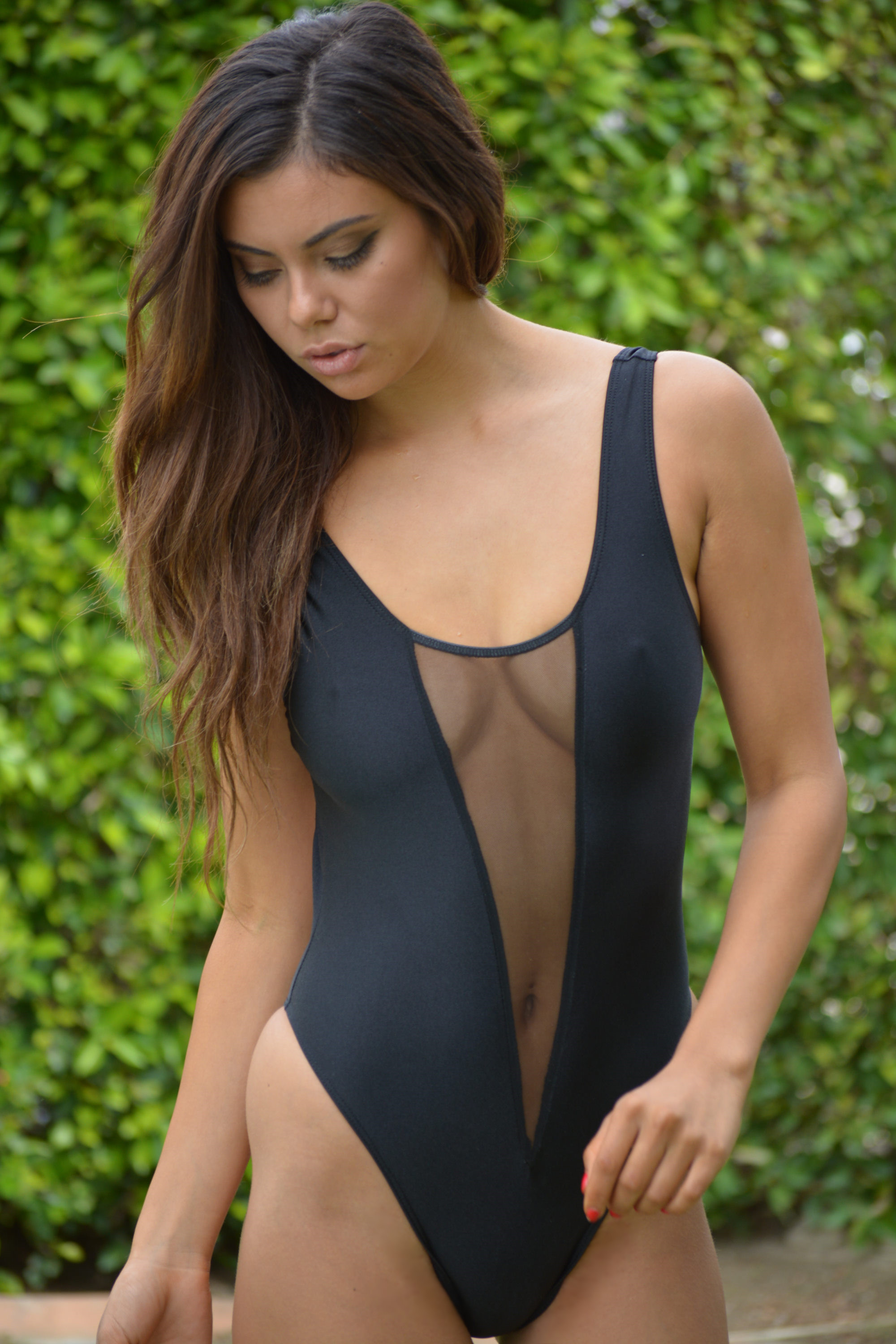 feaaa10ae4 Deep V Sheer When Wet One Piece Swimsuit by Brigitewear