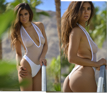 Diamant Blanc Sheer Crochet Mesh one piece thong swimsuit by Brigitewear