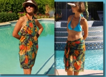 Brigitewear's exquisite long elegant sarongs as a cover-up or part of an exciting outfit