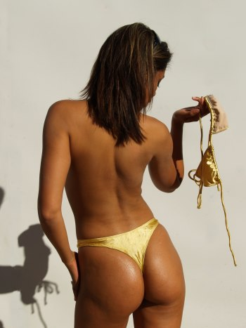 Topless gold satin thong bikini swimsuit bottom only
