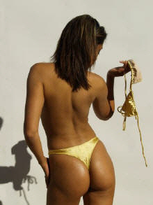 The shimmering Biarritz Gold Satin Bikini by Brigitewear, with or without the top, sultry sexiness!