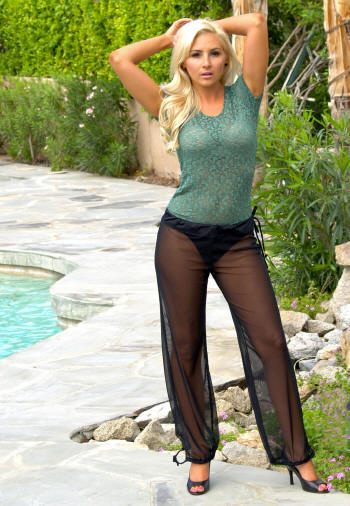 The Sheer Mesh Pant with the Lace Green Long Sheer T Shirt