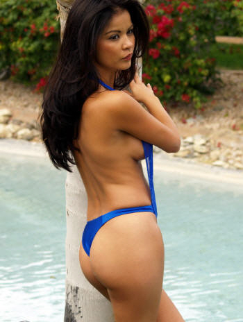 The Mesh Vichy bathing suit is available with thong or rio bottom