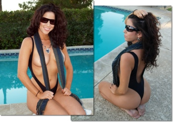 The Sexy Monte Carlo Topless one piece bathing suit shown with Maxx Desinger Sunglasses