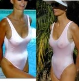 Provocative, sexy sheer when wet swimwear in one piece and two piece styles