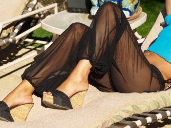The Sheer Mesh Pant by Brigitewear shown here with the leg cinched