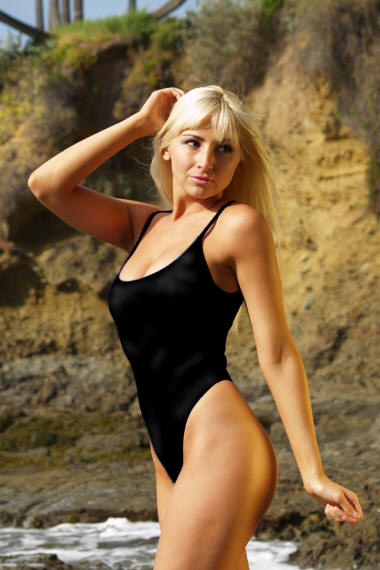 St Tropez thong one piece swimsuit in black