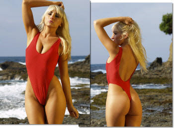 thong one piece bathing suit red