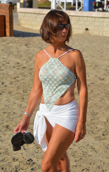 see through Diamond swimsuit top shown with matching Ivory Sarong cover-up