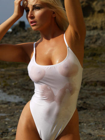 The St Tropez Sheer When Wet on piece thong swimsuit by Brigitewear made in the USA