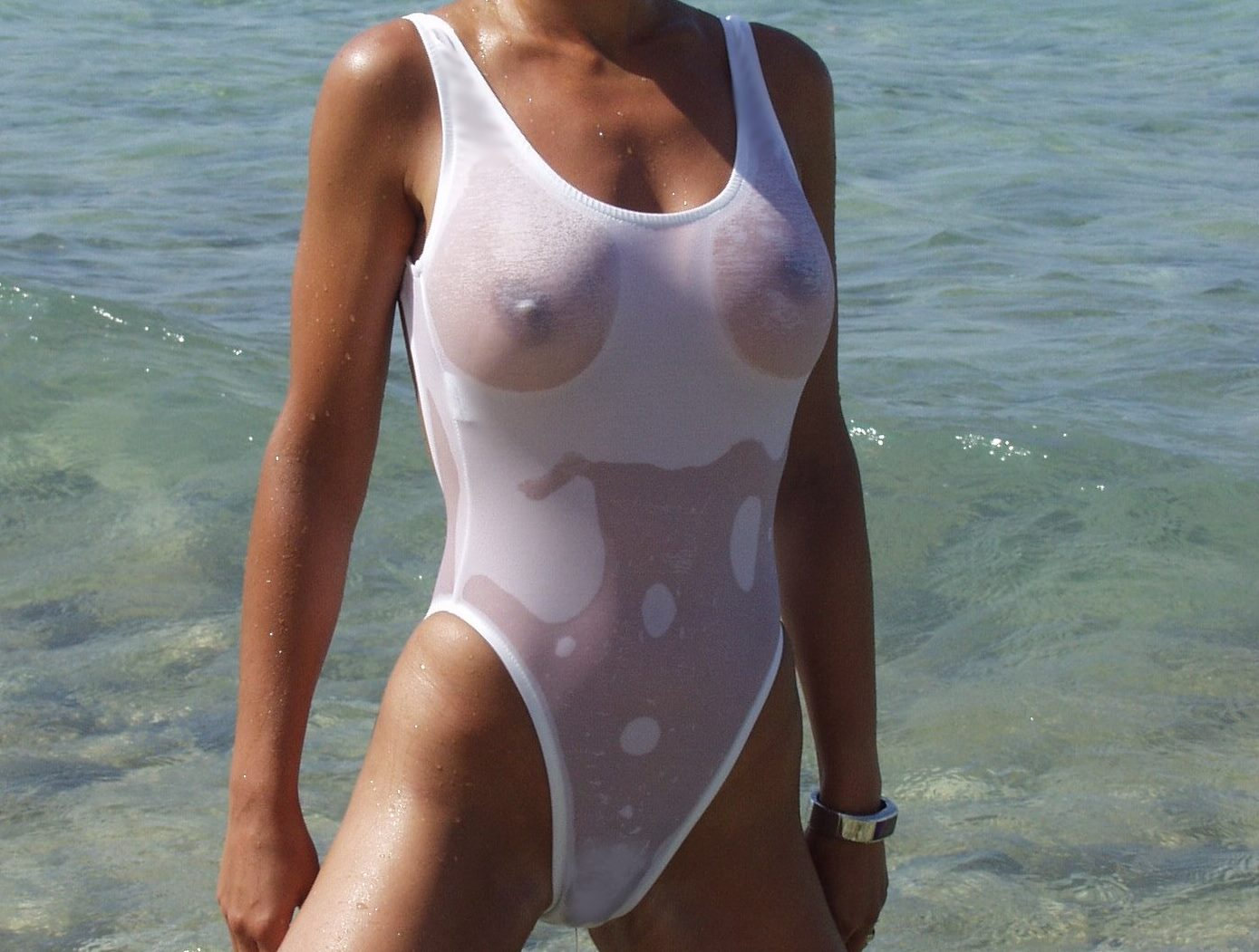 wet one piece swimsuit
