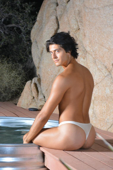 Men's sheer thong swimsuit in Clay rear view