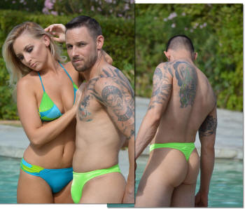 Sexy mens swimsuit thong in neon lime