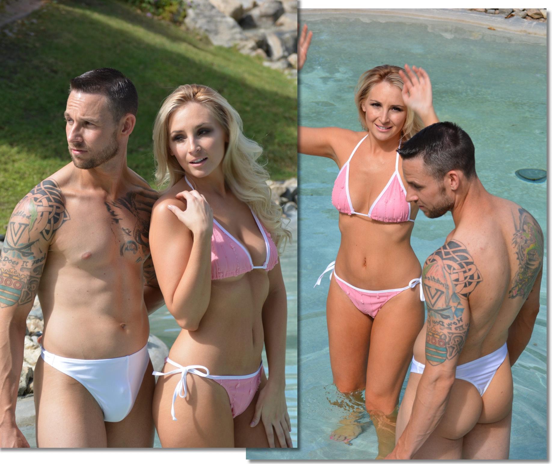 Men bikini public pool
