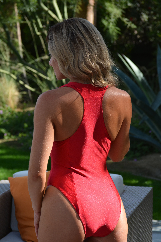 757e86e30 The Zip Down Baywatch Style One Piece Swimsuit by Brigitewear