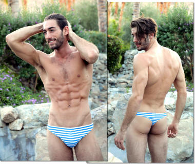 Low Rider Men's thong in Beach Stripes