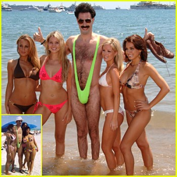 Borat wearing his Borat thong swimsuit by Brigitewear