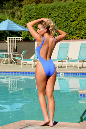 Breezy one piece sheer swimsuit in electric blue
