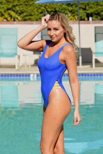 Sexy high cut womens retro sheer one piece swimsuit