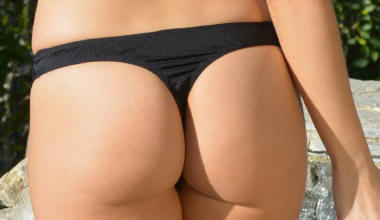 Black Cannes Thong Bottom
