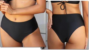 Cheeky High Waist bikini bottom Black