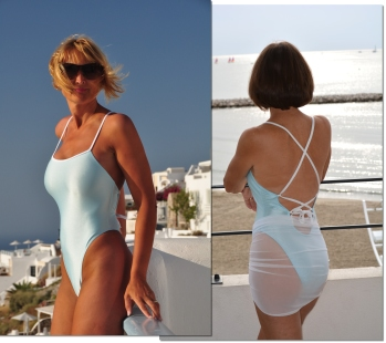Sheer one piece rio bottom swimsuit by Brigitewear