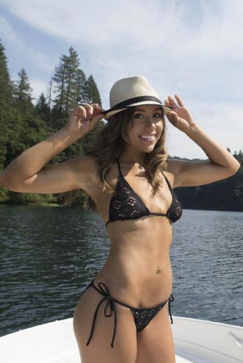 See through crochet bikini swimsuit top with cheeky thong or rio bikini bottom