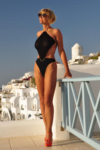 Sheer women's Diamon bathing suit by Brigitewear in Black/Gold with thong bottom