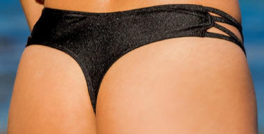 Side Cross Thong Bikini Bottom in Black