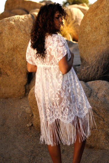 Women's Plus Size Fringe Cover sexy sheer cover-up by Brigitewear, Palm Springs