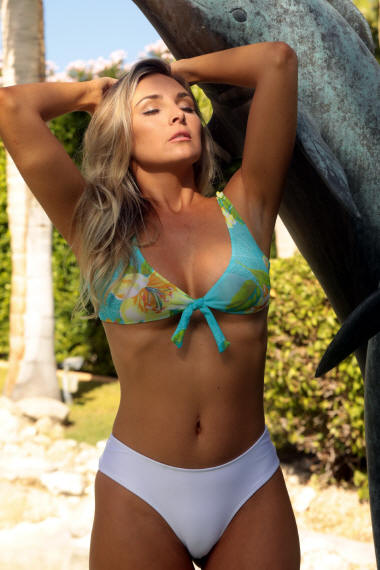 Aqua Front Tie Top with Diamond Thong bikini bottom