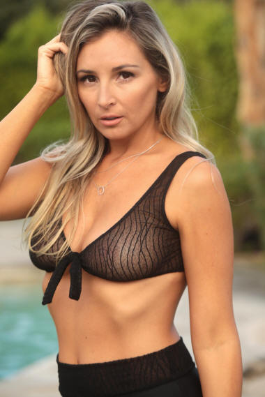 Black Marbled Mesh sheer see through Front Tie Bikini Top