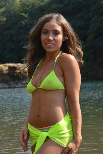 neon yellow sheer mesh sarong over a sheer top thong bikiini swimsuit by brigitewear