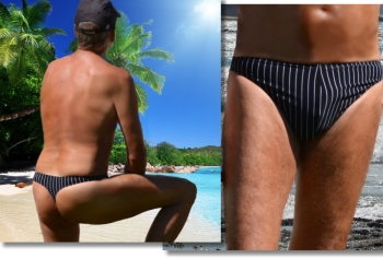 Low cut minimal coverage men's thong swimsuit by Brigitewear