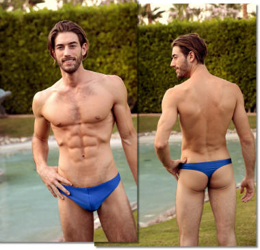 men's low rider thong swimsuit in royal blue