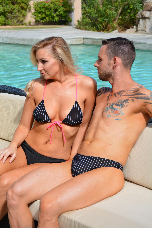 TriStrap bikini swimsuit with Lettuce edge bottom