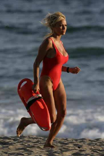 Baywatch style womens one piece swimsuit in red