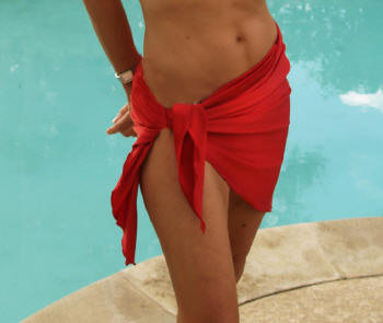 red sarong cover-up