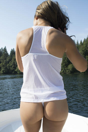 Super sexy see through white tankini bathing suit top