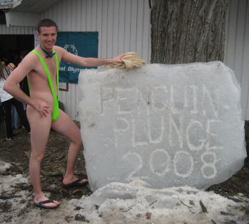 Ryan before taking the plunge in the charity - Penguin Plunge