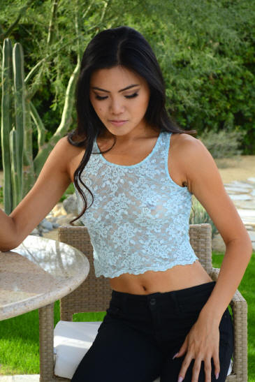 Short lace tank is seductively sheer